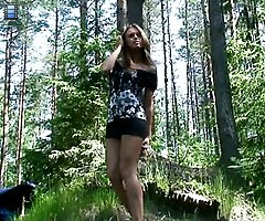 Spy with us � see a skinny teen piss in the woods