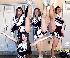 Hot cheerleader upskirt view from pretty students