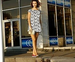 Polka dot teen up-skirt
